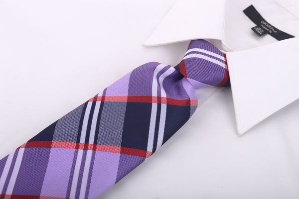 Purple Buffalo Plaid Necktie - Scott Allan Collection