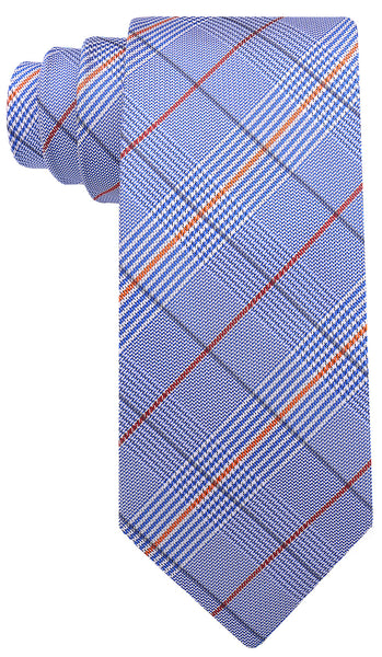 Blue Orange Plaid Necktie