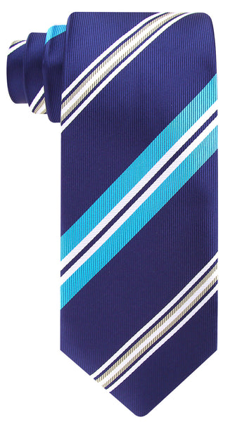 Navy Blue, Turqoise and Yellow Striped Necktie