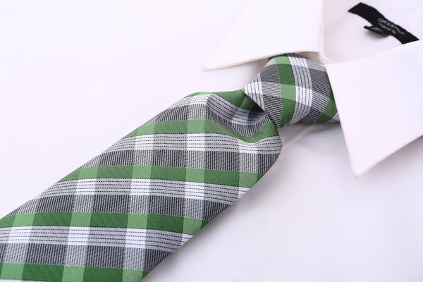 Green & Gray Striped Necktie - Scott Allan Collection