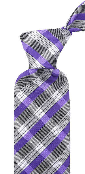 Purple & Gray Stripe Necktie - Scott Allan Collection