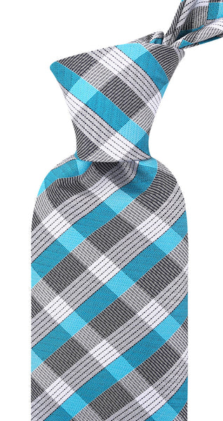 Turquoise & Gray Striped Necktie