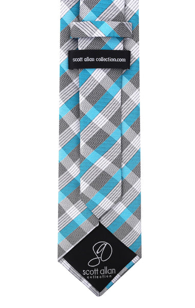 Turquoise & Gray Striped Necktie - Scott Allan Collection