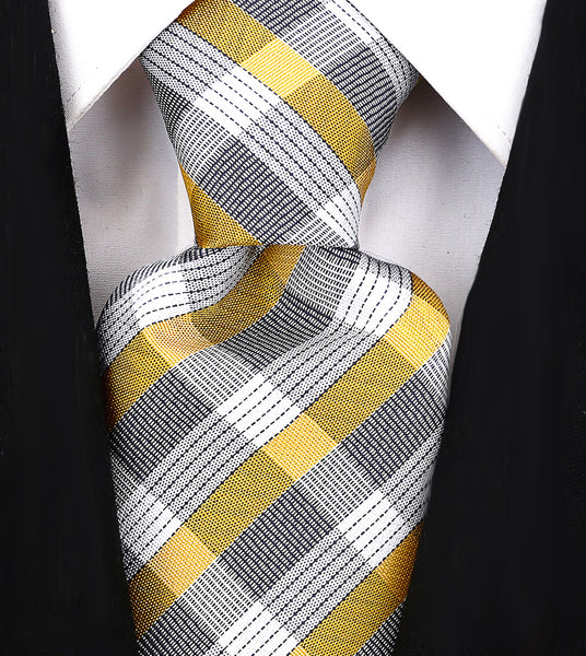 Yellow & Gray Plaid Necktie - Scott Allan Collection