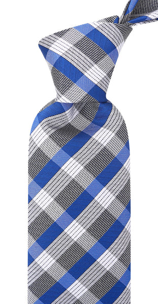 Blue and Gray Plaid Necktie