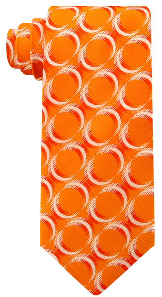 Orange Geometric Necktie - Scott Allan Collection