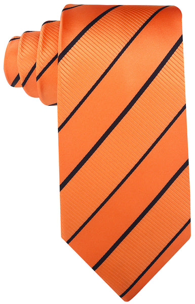 Orange Black Striped Necktie