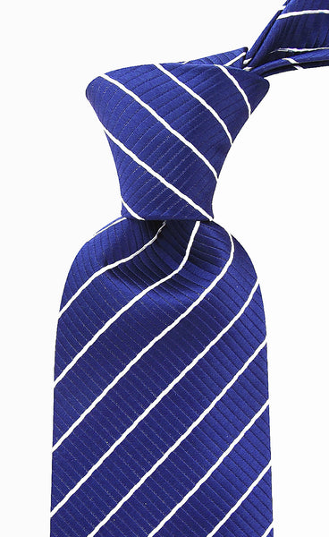 Navy Blue & White Striped Necktie