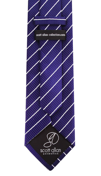 Navy Blue & White Striped Necktie - Scott Allan Collection