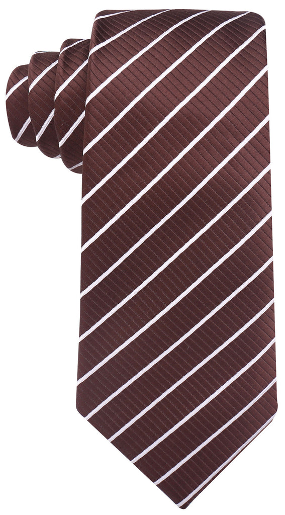 Brown White Stripe Necktie - Scott Allan Collection