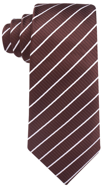 Brown White Stripe Necktie