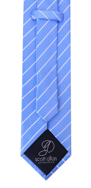 Carolina Blue White Stripe Necktie - Scott Allan Collection