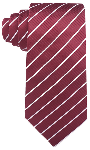 Burgundy White Stripe Necktie