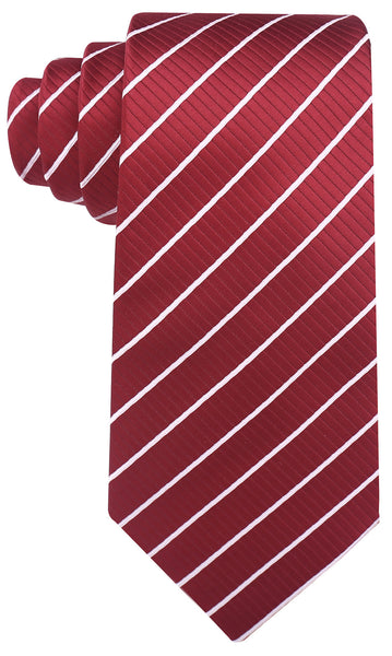 Burgundy White Stripe Necktie - Scott Allan Collection