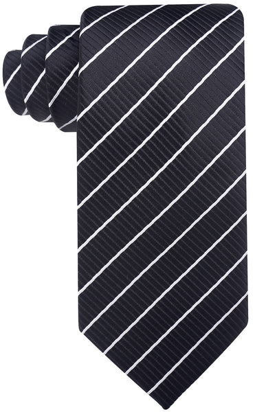 Mens Black & White Striped Necktie