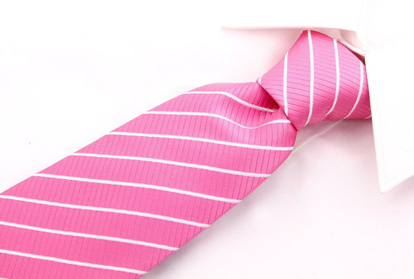 Pink White Stripe Necktie - Scott Allan Collection