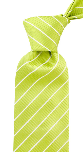 Green Apple White Stripe Necktie - Scott Allan Collection