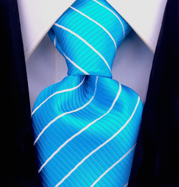 Blue White Stripe Necktie - Scott Allan Collection