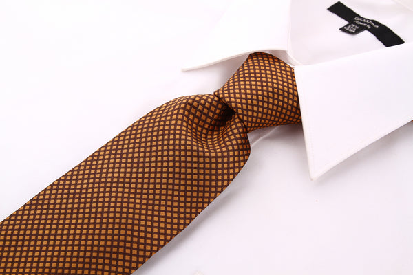 Brown and Yellow Checkered Necktie - Scott Allan Collection