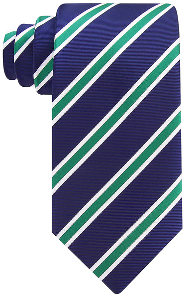 Navy Blue and Green Striped Necktie