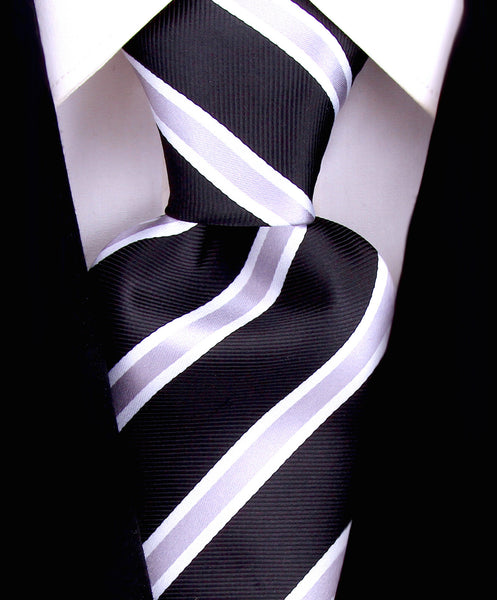 Black and Gray Striped Necktie - Scott Allan Collection
