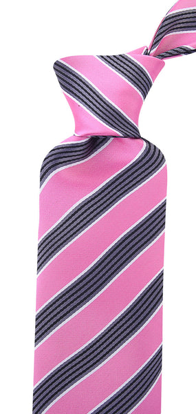 Pink Black Quad Stripe Necktie