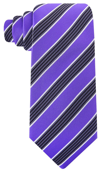 Purple Black Quad Stripe Necktie
