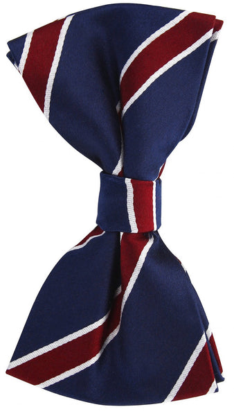 Navy Blue Burgundy Twill Stripe Bow Tie - Scott Allan Collection