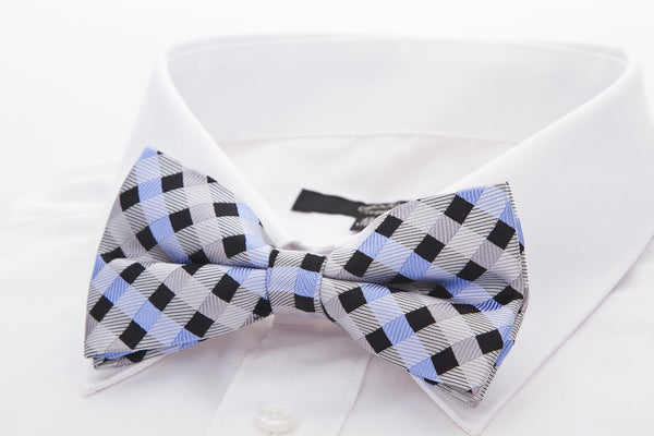 Grey/Black/Blue Checkered Plaid Bow Tie - Scott Allan Collection