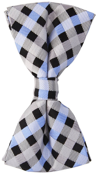 Grey/Black/Blue Checkered Plaid Bow Tie