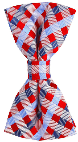 Red Blue Checkered Plaid Bow Tie
