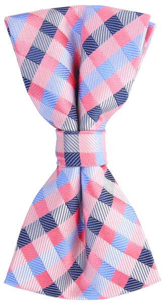 Pink/Blue Checkered Plaid Bow Tie