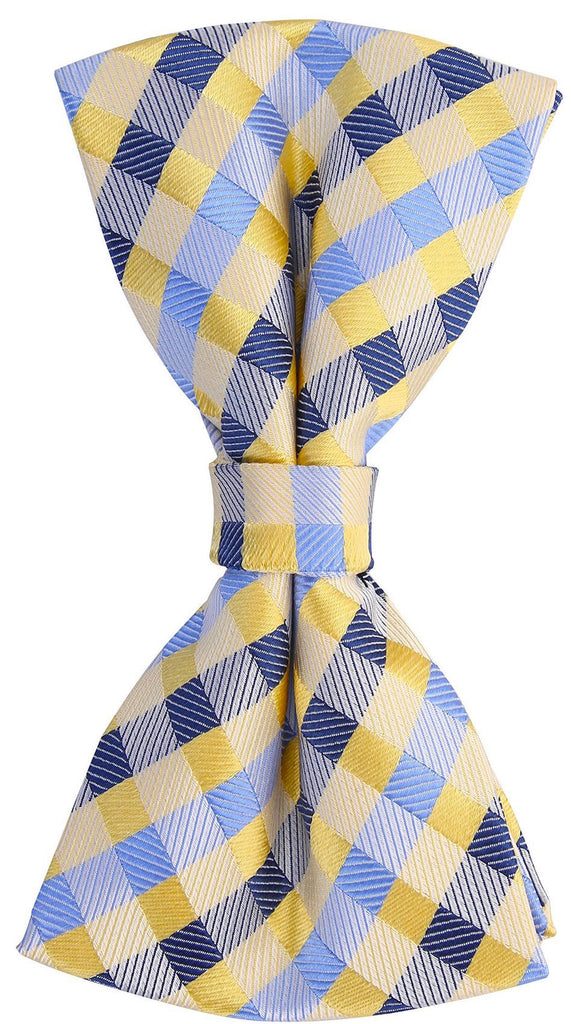 Yellow/Blue Checkered Plaid Bow Tie - Scott Allan Collection