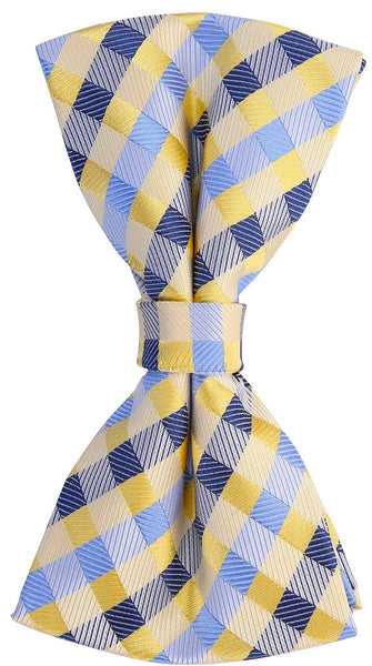 Yellow/Blue Checkered Plaid Bow Tie