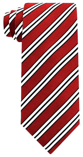 Silk -  Burgundy Red & White Necktie