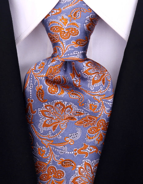 Blue & Orange Silk Floral Necktie - Scott Allan Collection