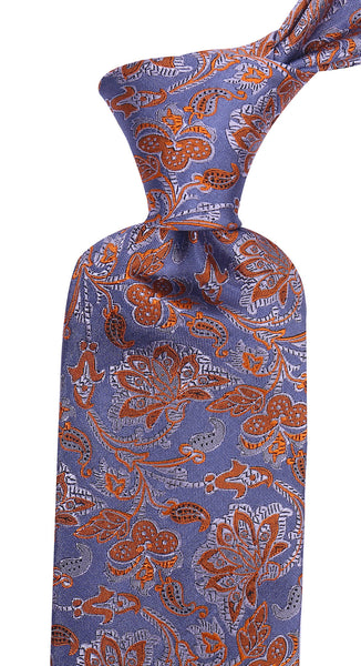 Blue & Orange Silk Floral Necktie