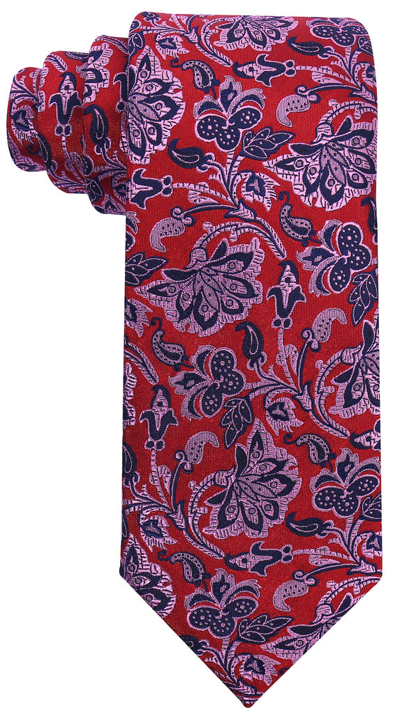 Red & Pink Silk Floral Necktie - Scott Allan Collection