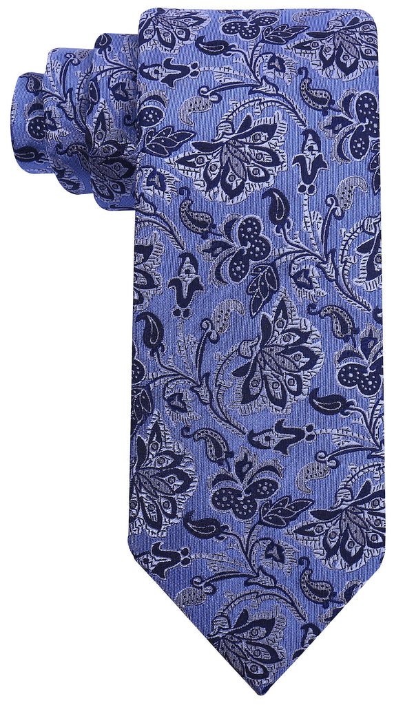 Blue Silk Floral Necktie - Scott Allan Collection