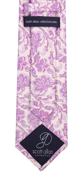 Pink & Beige Silk Floral Necktie - Scott Allan Collection