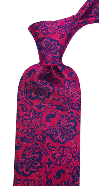 Fuchsia & Navy Blue Silk Floral Necktie - Scott Allan Collection