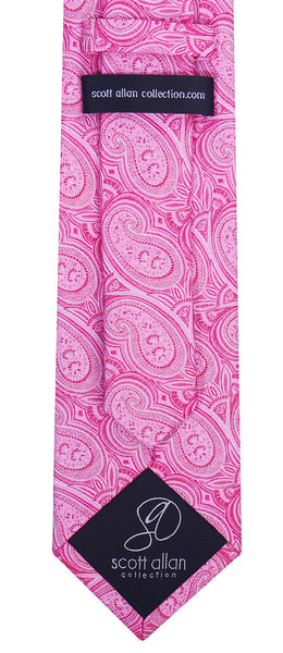 Fuchsia Silk Paisley Necktie - Scott Allan Collection