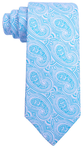 Light Blue Silk Paisley Necktie