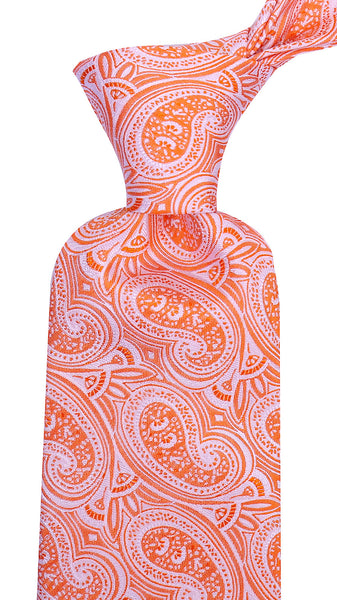 Orange Silk Paisley Necktie