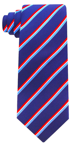 Navy Blue Silk Core Striped Necktie