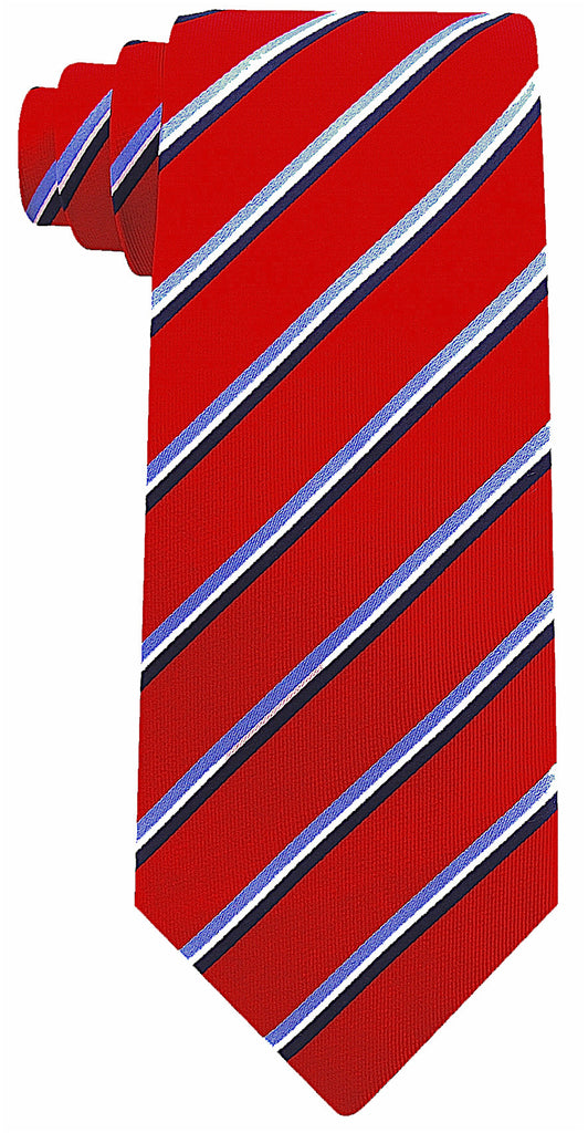 Burgundy Silk Core Striped Necktie - Scott Allan Collection