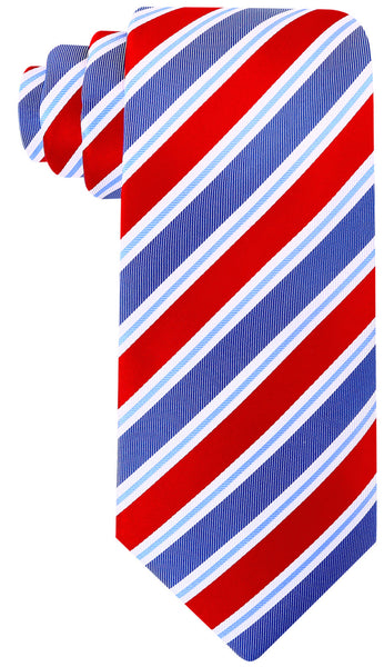 Red & Blue Silk Striped Necktie