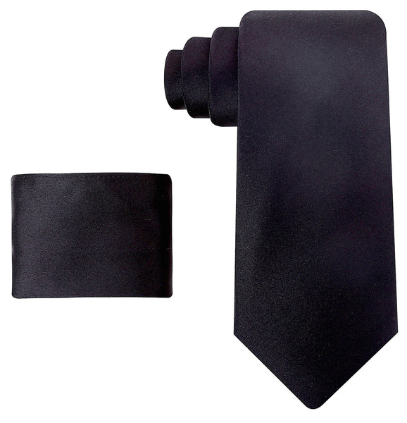 100% Silk Solid Black Necktie Set
