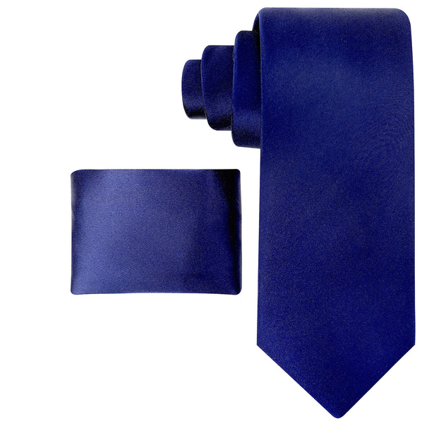 100% Silk Solid Necktie Set in Navy Blue