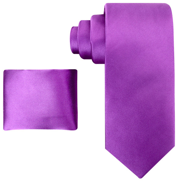 100% Silk Solid Necktie Set in Purple